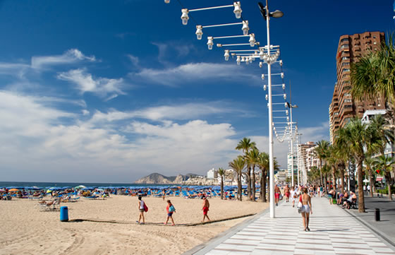 Strand Benidorm Playa Levante i Alicante