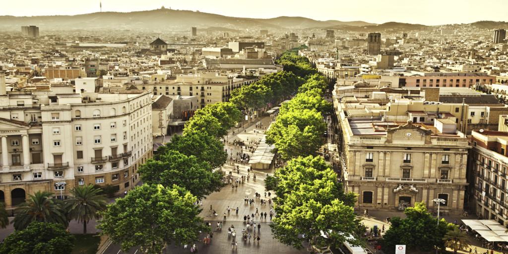 Las Ramblas i Barcelona
